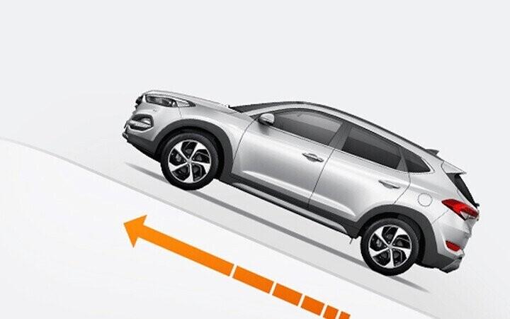 Công nghệ hỗ trợ xuống dốc DBC của Tucson giúp xe tự động hãm các bánh xe khi vận tốc xuống dốc của xe ở mức nguy hiểm