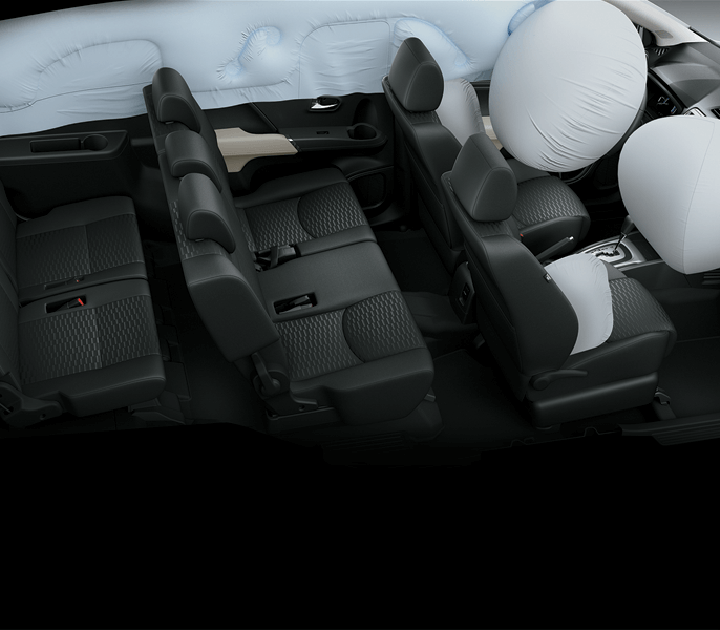 Hệ thống an toàn đầy đủ, tiện nghi với 6 túi khí và đèn báo dây đai an toàn ở tất cả các ghế