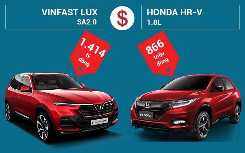 So sánh giá bán VinFast LUX SA2.0 và Honda HR-V