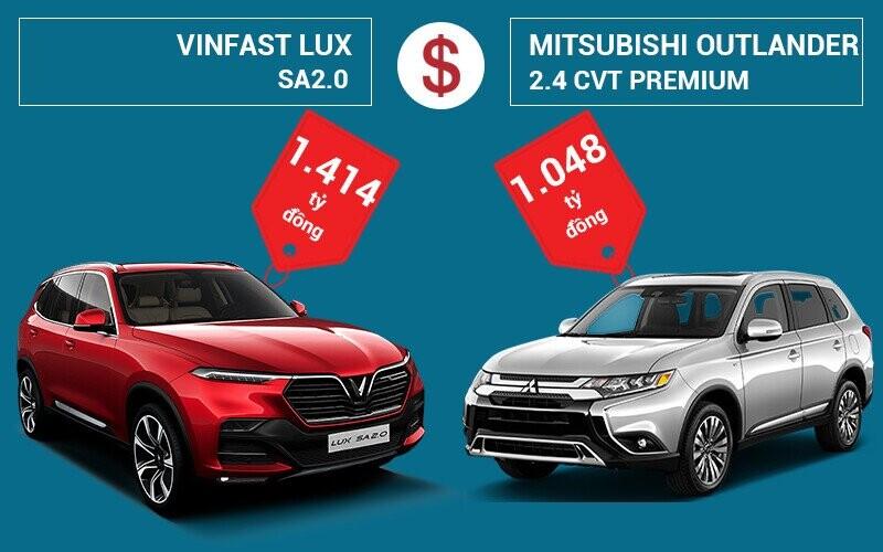 So sánh giá xe VinFast LUX SA2.0 và Mitsubishi Outlander