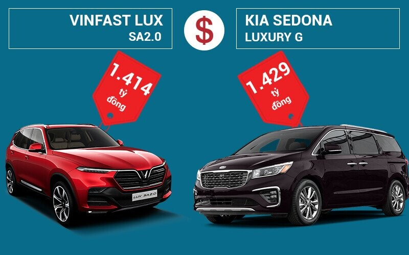 So sánh giá xe VinFast LUX SA2.0 và KIA Sedona