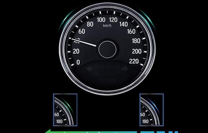 ECO Coaching- chế độ hướng dẫn lái xe tiết kiệm nhiên liệu được hiển thị bằng viền đèn LED của đồng hồ trun tâm