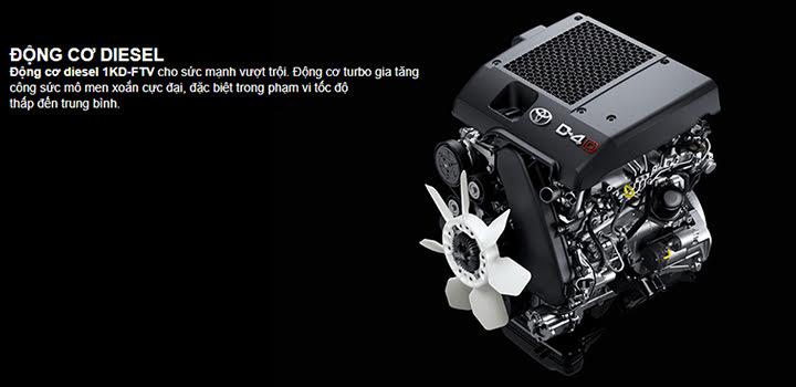 Động cơ Diesel 1KD-FTV cho sức mạnh vượt trội, khả năng tiết kiệm nhiên liệu