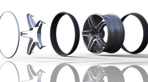 Hệ thống Acorus với hai viền cao su đen và một dạng thân vành đặc biệt gắn vào vành xe hợp kim.